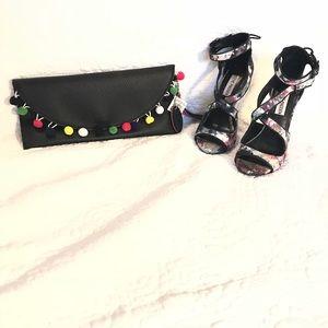 Handbags - NWT Black PomPom Clutch